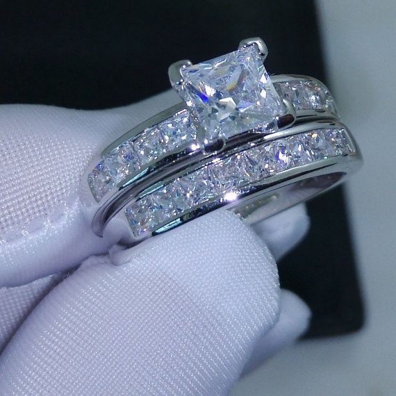 10kt White Gold Filled Princess Cut Simulated Diamond Grade Aaa