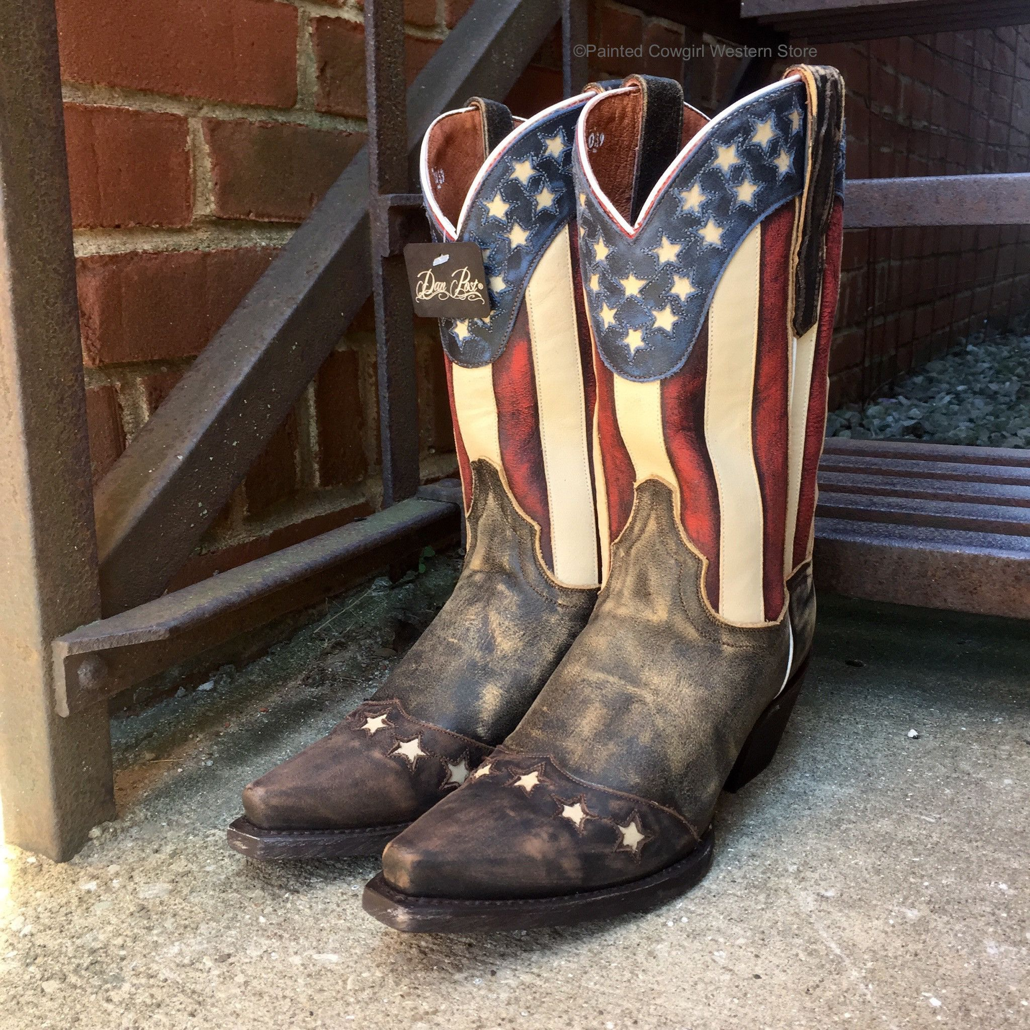 "35eda7959c4 Dan Post Liberty Stars   Stripes American Flag Boots 11"" Top DP3586 ..."
