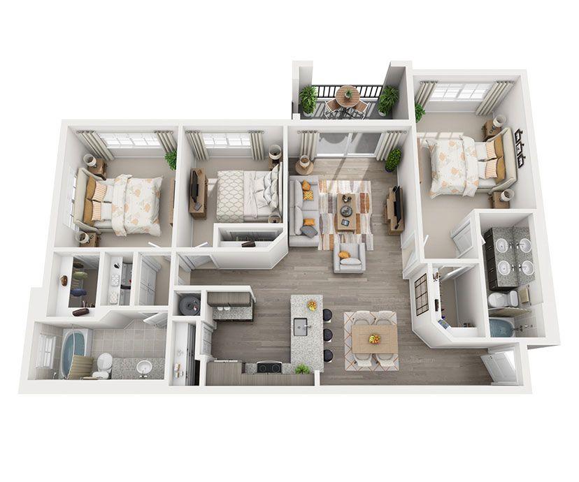 1 2 Y 3 Planos De Los Apartamentos Para Personas Mayores En Hollywood Fl Apartment Home Hacks Bedroom Apartment