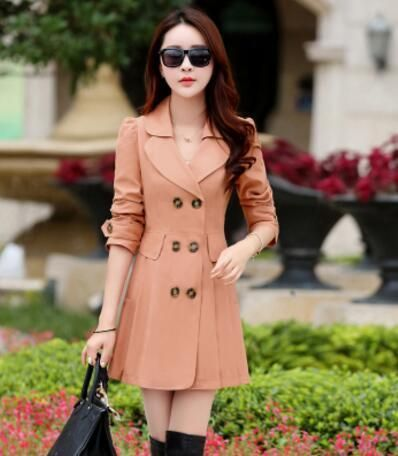 Trench Coat For Women Casual 6 Colors Turn Down Collar Slim Fit Double Breasted