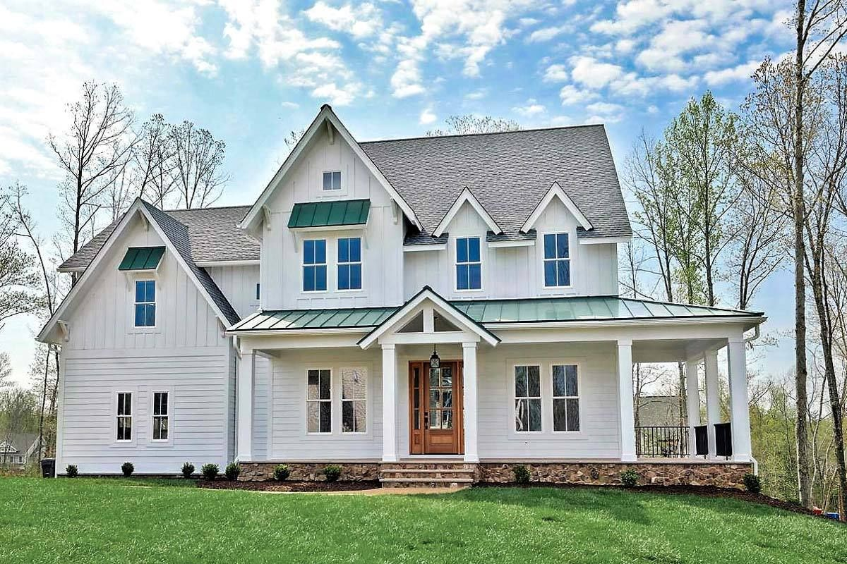 Modern Farmhouse With L Shaped Front Porch   500021VV | Architectural  Designs   House Plans