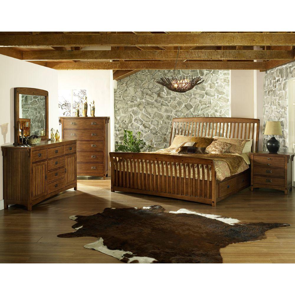 Craftsman Wood Storage Bed by Somerton Wooden Storage