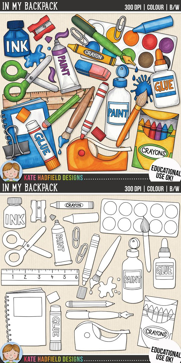 School Supplies Clip Art In My Backpack How To Draw Hands