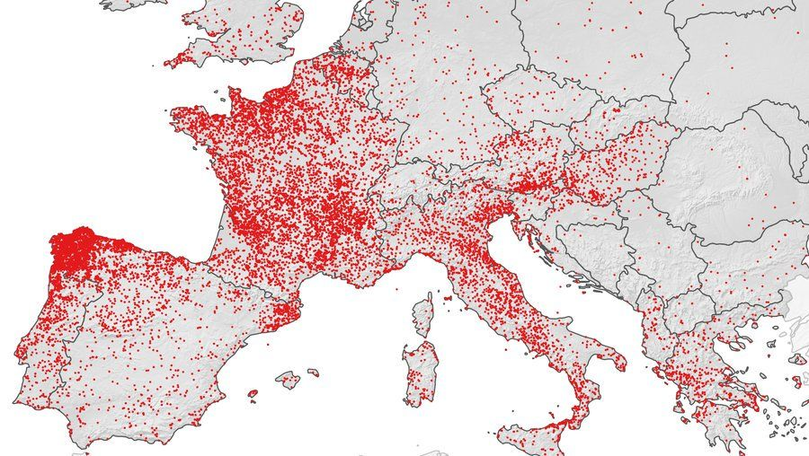 A Map of Saintly Placenames in Europe Spain