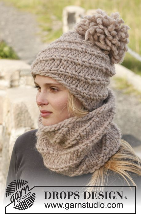 """Knitted DROPS neck warmer and hat with spiral pattern in """"Polaris ..."""
