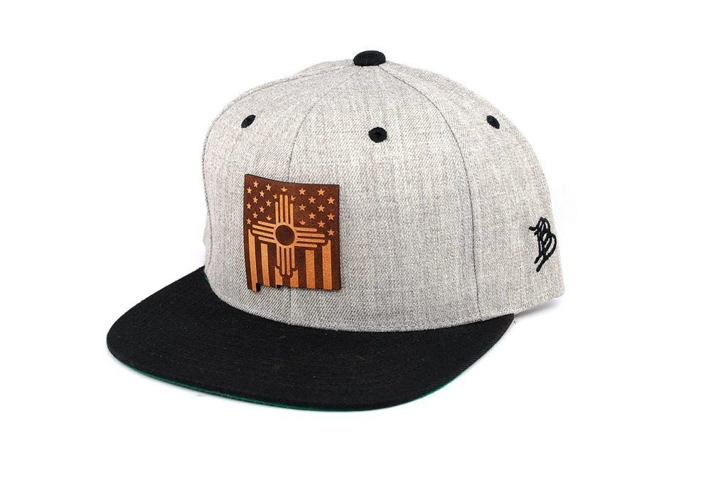 693d4e3380579c The Zia Patriot - Snapback Hat - New Mexico Leather Patch - Branded Bills