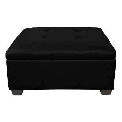 Awesome Heirloom Tufted Padded Hinged Storage Ottoman Leather Look Alphanode Cool Chair Designs And Ideas Alphanodeonline