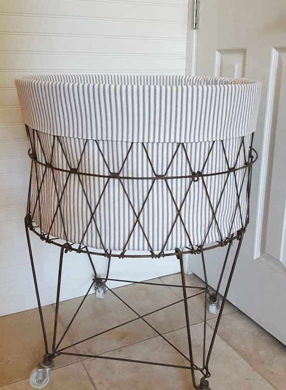 French Wire Hamper Liner Ticking Hamper Liner Laundry Basket