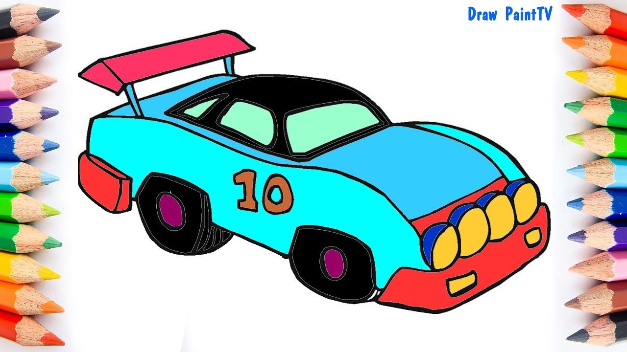 Toy Racing Car Coloring Page Video For Kids Learning Colors Learning Colors Kids Learning Cars Coloring Pages