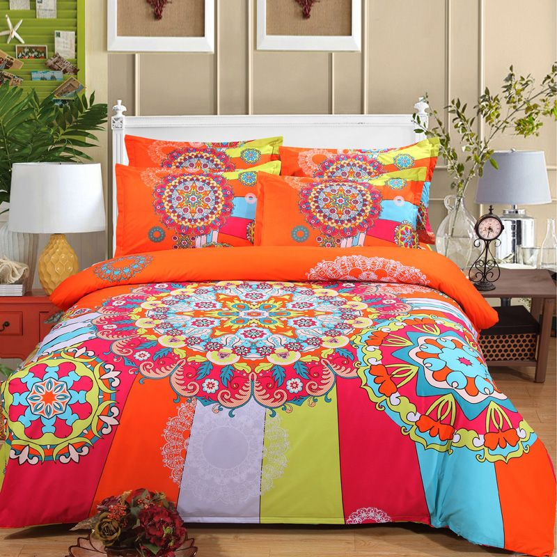 Aliexpress Com Buy Designer Bedding Set 4pcs Bohemia National Duvet Doona Cover Set Teal Blue Bright Bedding Sets Bright Bedroom Decor Colorful Bedding Sets