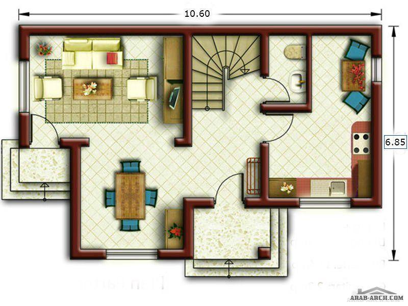 خريطة لفيلا صغيرة المساحه على ارض 72 متر مربع 3 غرف نوم Classic House Design House Floor Plans Bungalow Design