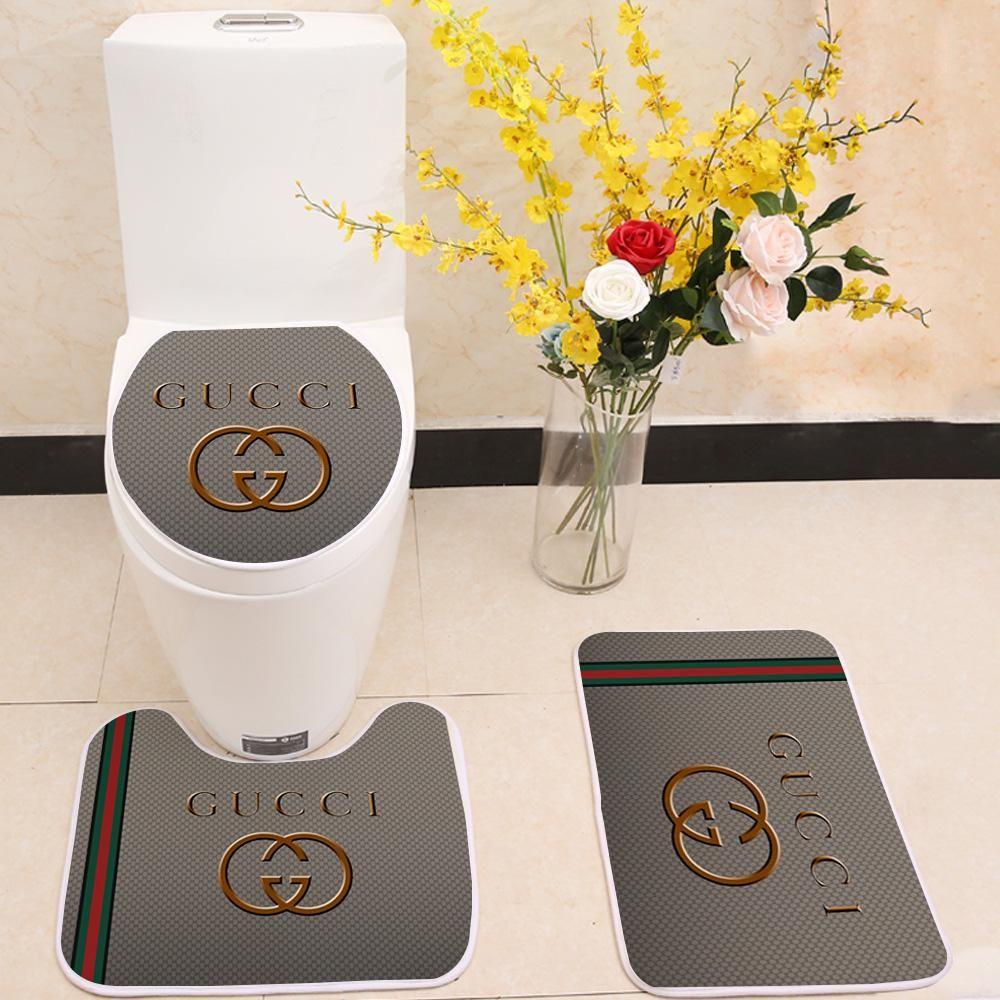 3 Pcs Bath Rugs Set Package Include Floor Mat Toilet Lid Cover U