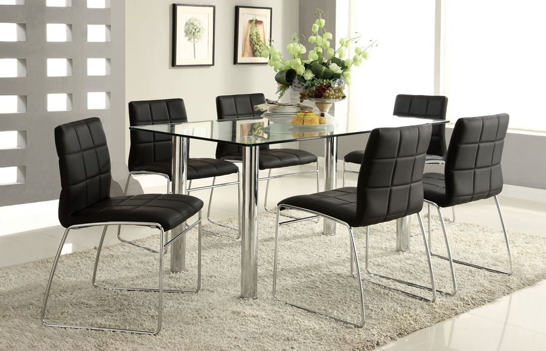 Cm8319t 8320bk Bk 7 Pc Oahu Contemporary Style Glass Table Top With Chrome Finish Legs Contemporary Dining Table Contemporary Dining Room Sets Modern Dining Room Tables