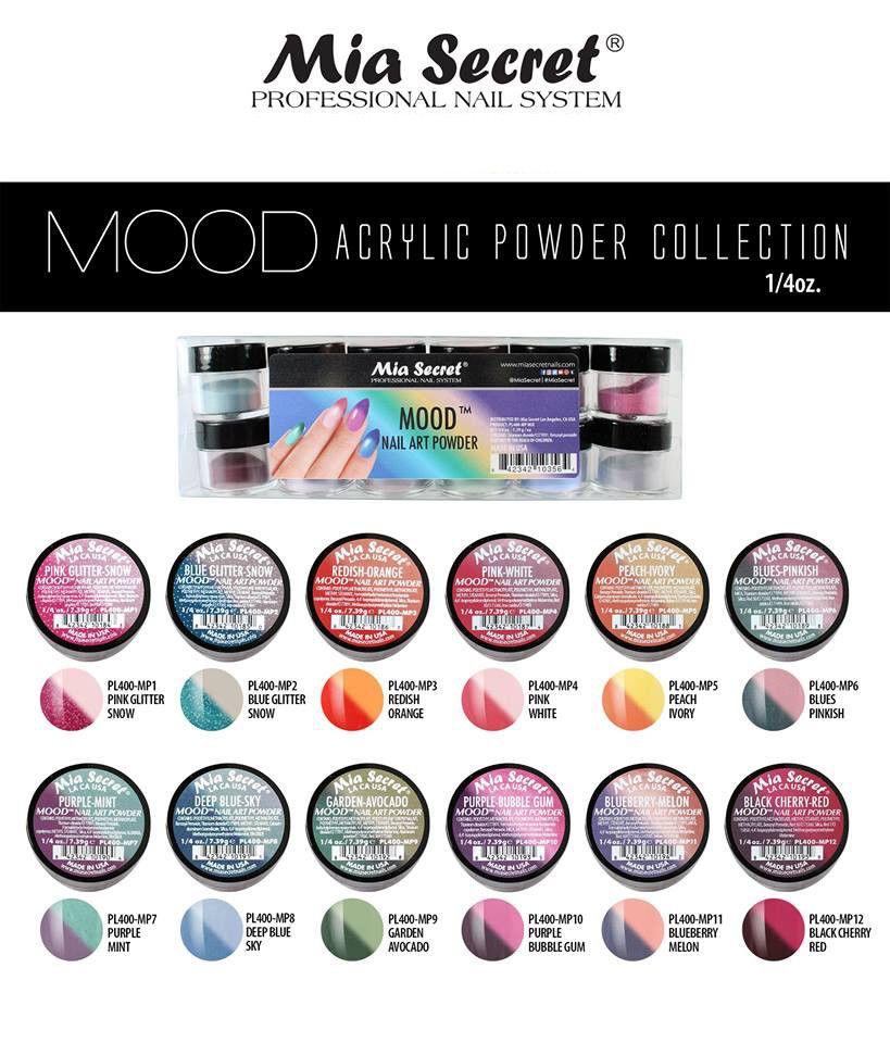 12pc Mia Secret Nail New Acrylic Art Powder New Collection Mood Ebay Secret Nails Acrylic Nail Powder Acrylic Powder