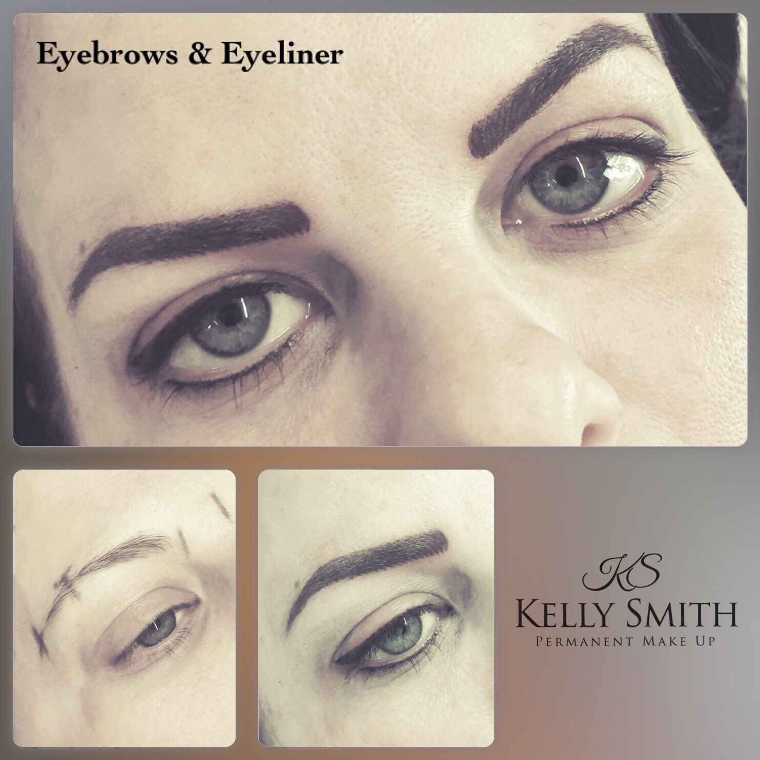 Strong eyebrow and eyeliner tattoo. The colour will fade