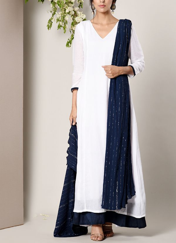 65628a42df trueBrowns | White and Blue Border Dress with a Crinkle Dupatta | Shop  Dresses at strandofsilk.com