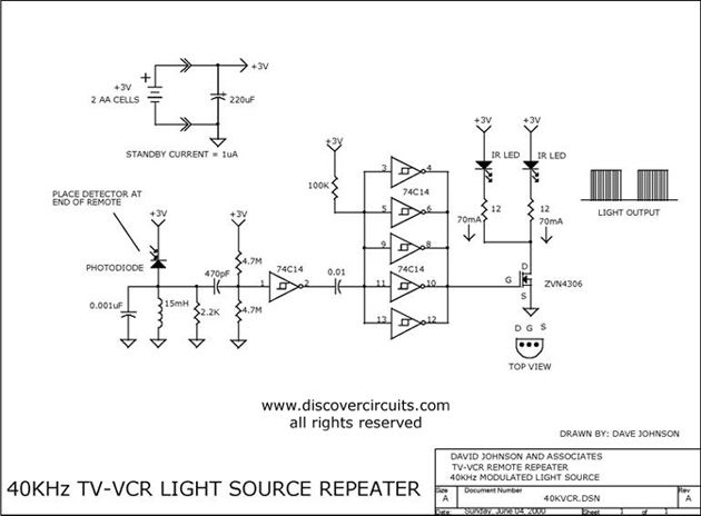 circuit 40khz tv vcr light source repeater circuit repetidor rh pinterest co uk