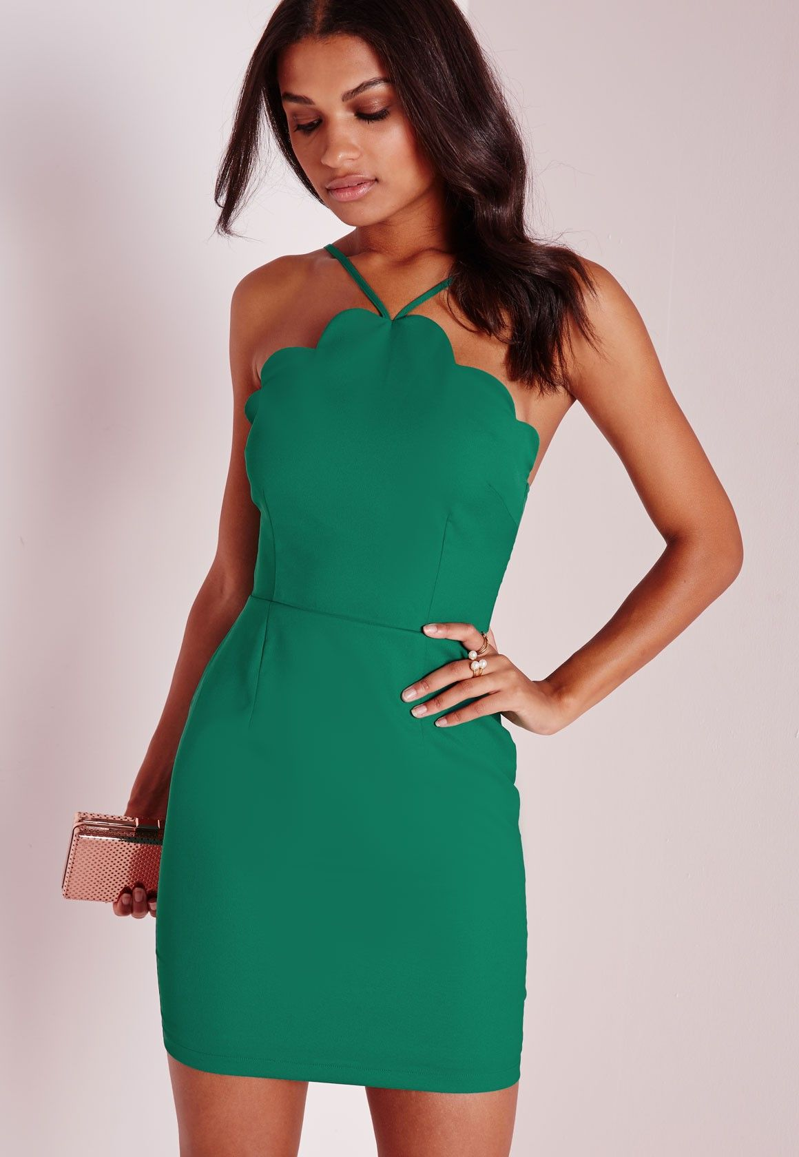 Missguided - Scallop Bodycon Dress Green | Wedding | Pinterest ...