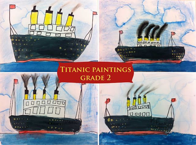 Grade 2 art activity to remember the Titanic - one of the smokestacks on the Titanic was cosmetic so only three stacks should show smoke.