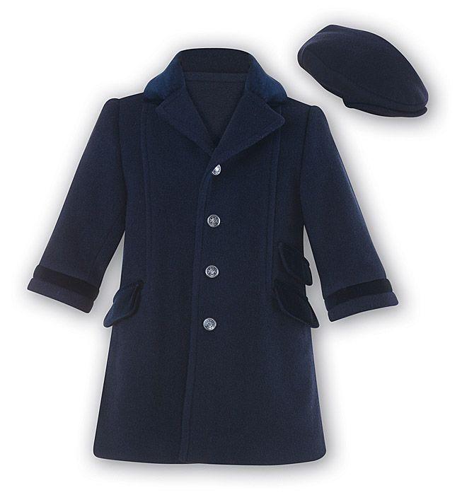 1a0c9cbeb Sarah Louise Boys Navy Blue Wool   Cashmere Blend Dress Coat with ...