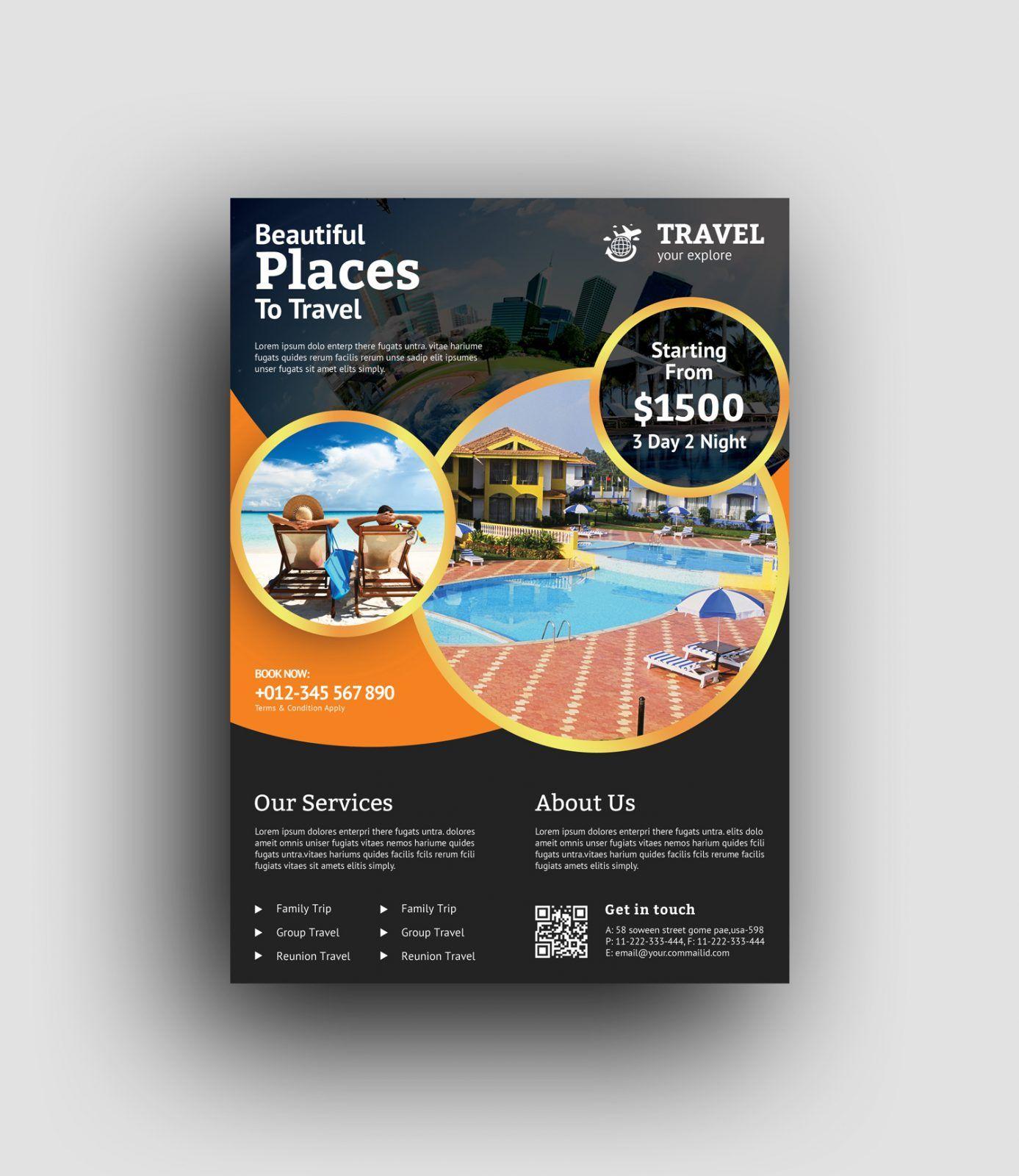 Tourism Events Calendar Flyer Template: Premium Travel Agency Flyer Design Template 001480