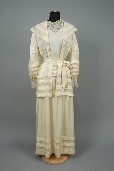 LOT 659 SILK WEDDING DRESS TRIMMED with SEQUINS, c. 1917. - whitakerauction #dollvictoriandressstyles