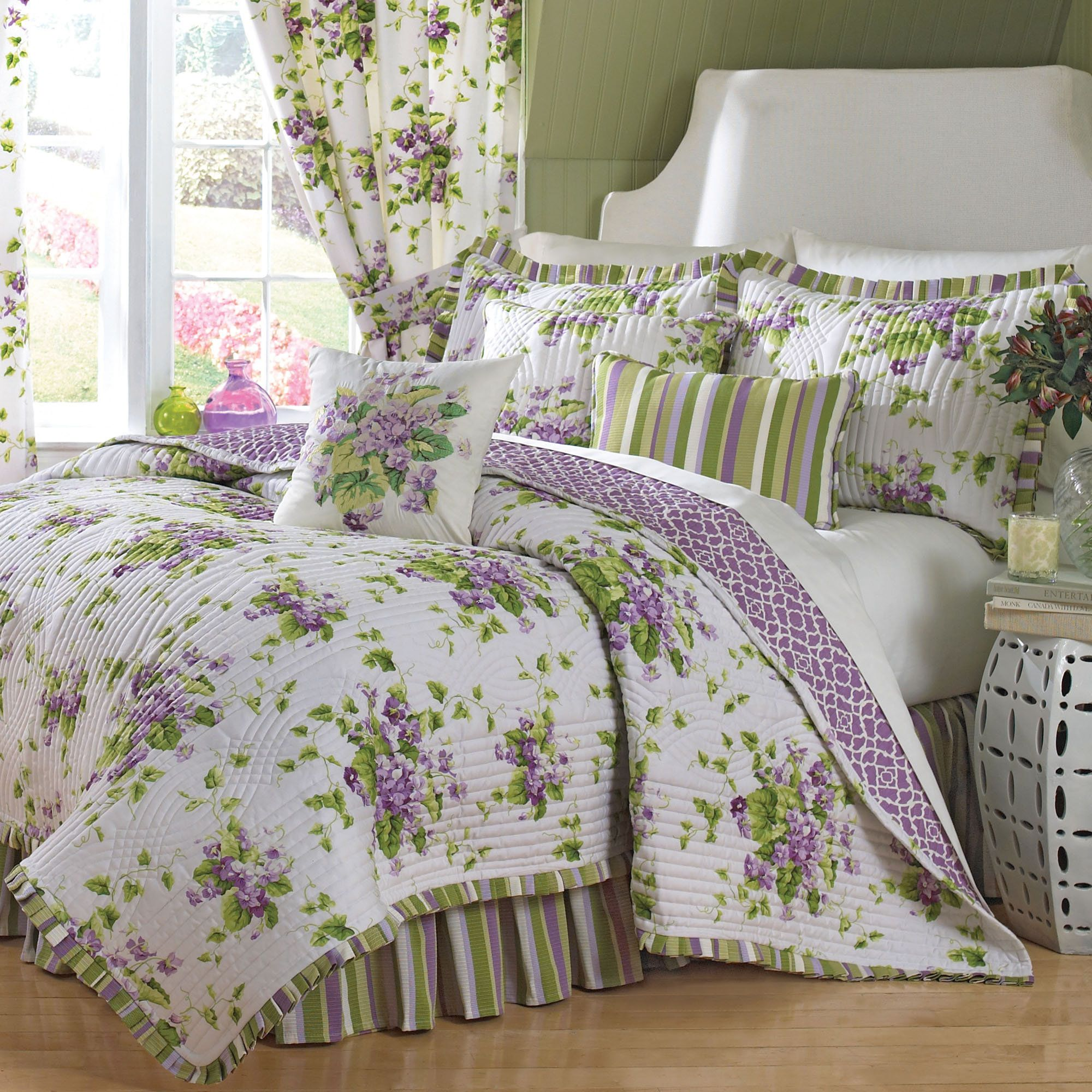 sweet violets floral quilt set bedding by waverly  bedrooms  - sweet violets floral quilt set bedding by waverly
