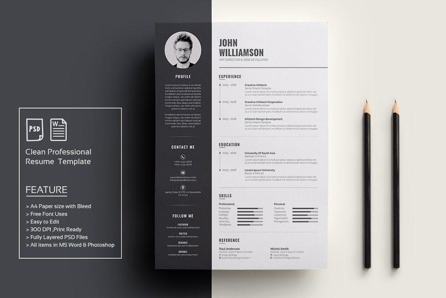 ad  resume  cv by deviserpark on  creativemarket  resume is