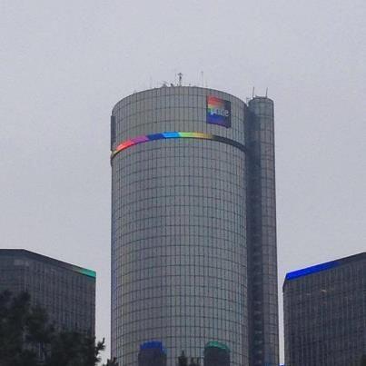 Motor City Pride Rainbow Lights On The Renaissance Center Gm Hq