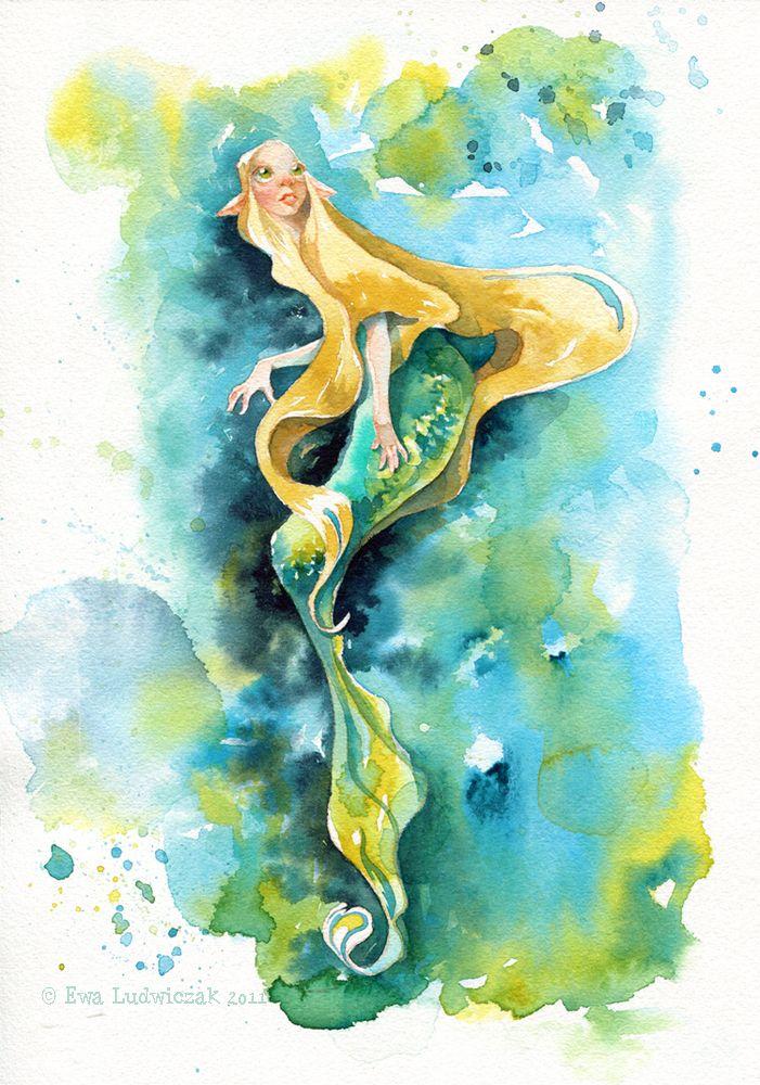 Картинки ангелов и русалок акварелью