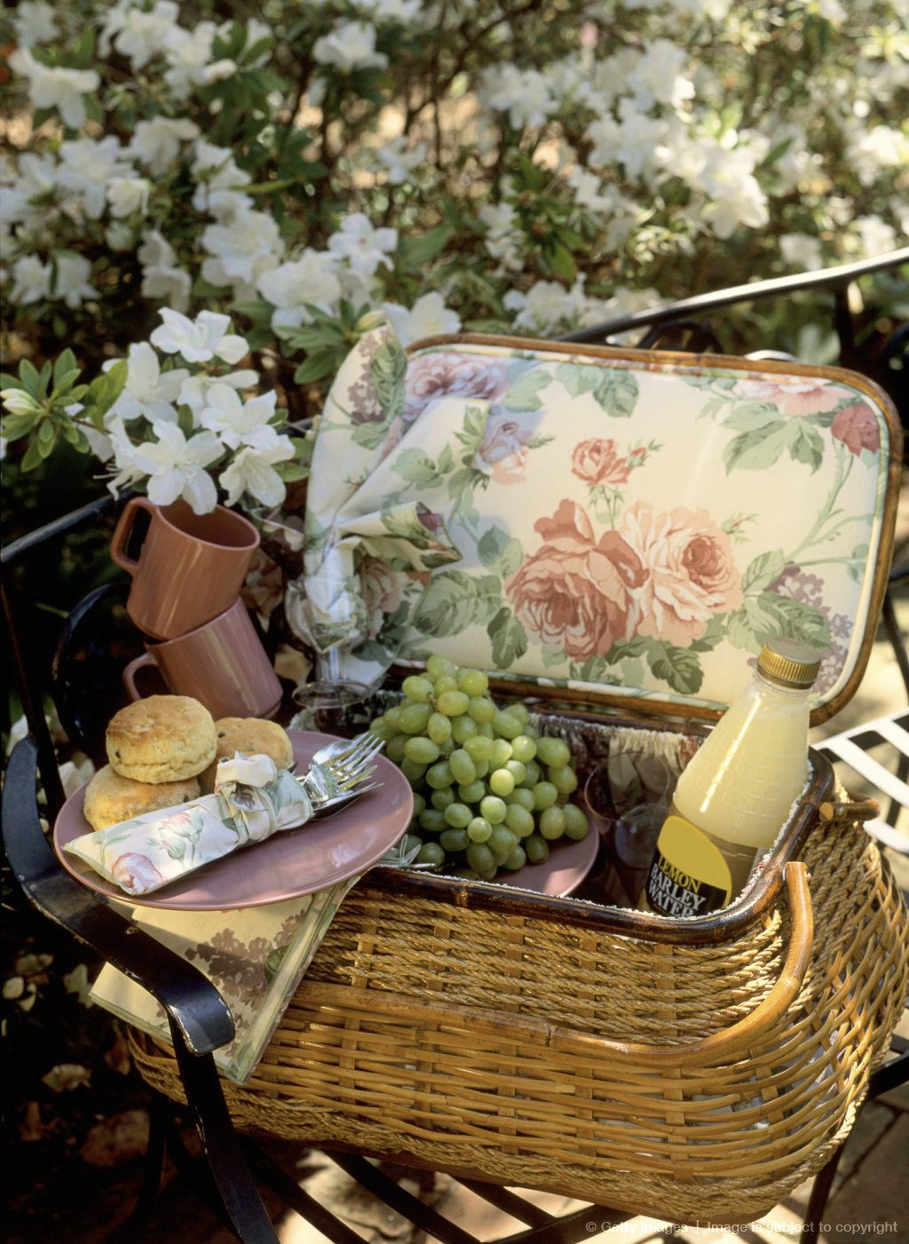 Picnic Basket Food : Picnic basket with food and flowers time