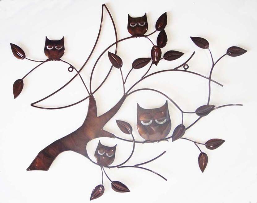 Metal Wall Art   Bronze 4 Owl Branch