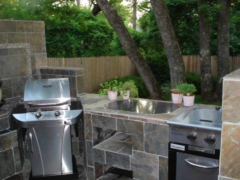 Kitchen Awesome Outdoor Kitchen Ideas With Natural Stone Plat Form Stainless Sink White Plant Vase Base Refrigerator Stainless Grill Green Gardening Ideas Plat
