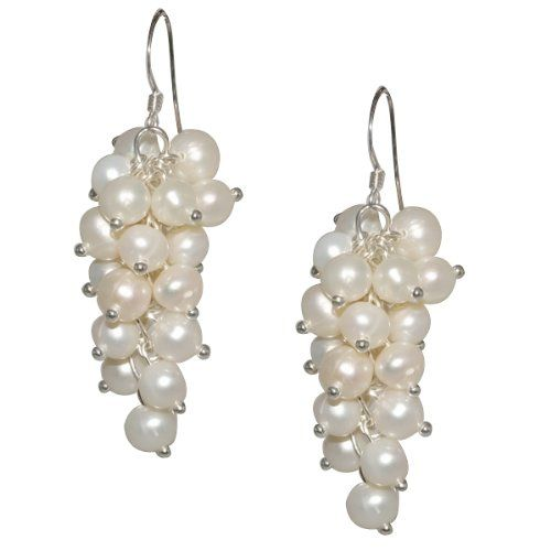 1 5 White Freshwater Cultured Pearl 6mm 925 Sterling Silver Dangle Earrings Gem Stone