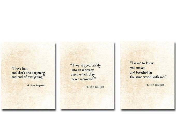 F. Scott Fitzgerald, Love Quotes, Romantic Quote, Literacy Book Prints,  Literature Print, Large Wall Art, Set Of Three Fine Art Prints