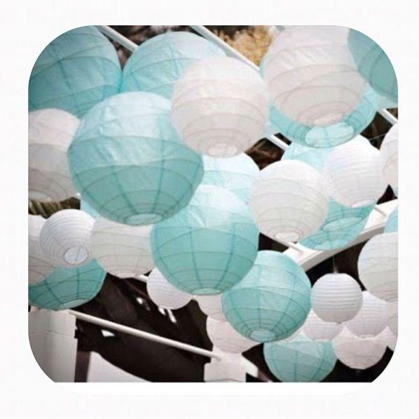 White And Tiffany Blue Lanterns