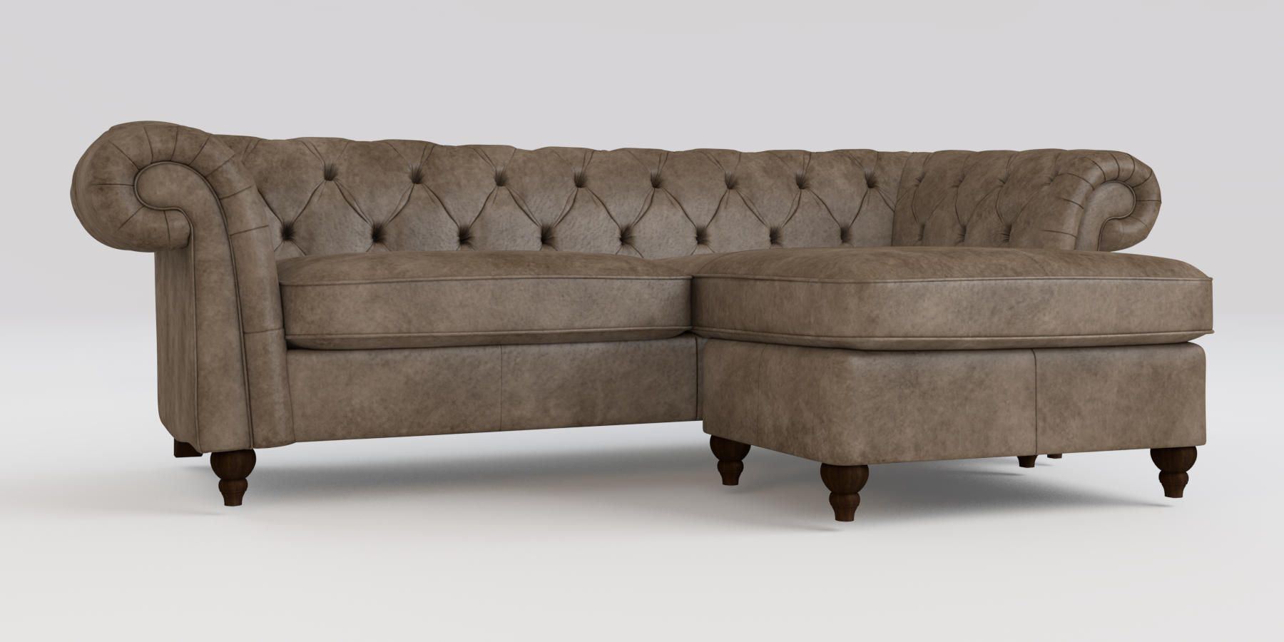 Buy gosford buttoned leather corner chaise right hand 4