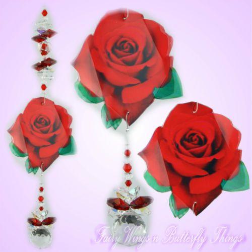 FWBT Rose Crystal suncatcher *handmade valentines love wedding gift lightcatcher $18