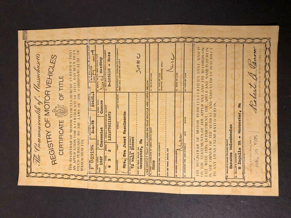 1967 Chevrolet Camaro Certificate Of Title Application Massachusetts In 2020 Chevrolet Camaro Camaro Chevrolet