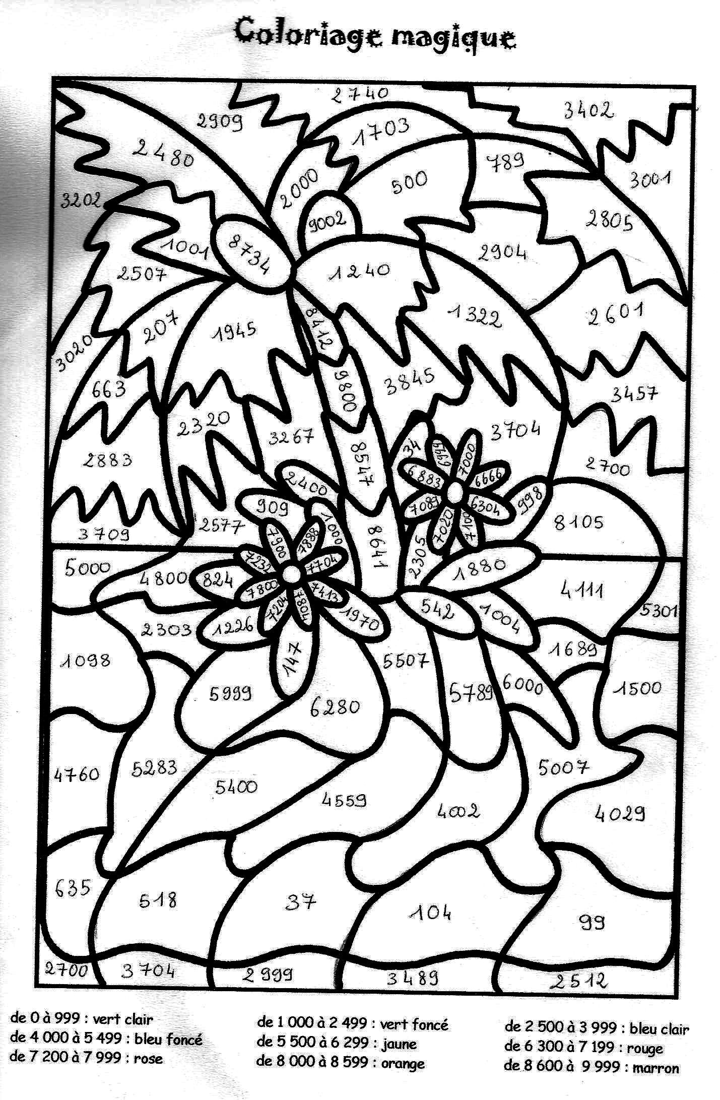 Coloriage magique cm2 colorier dessin imprimer cole coloriage magique multiplication - Coloriage de multiplication ...