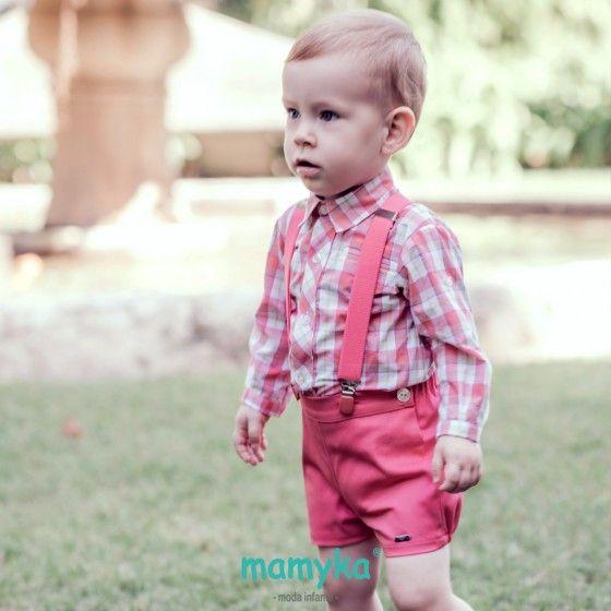 ee4ab2bca Conjunto Bebé niño Coral pantalón + camisa + tirantes. DOLCE PETIT ...