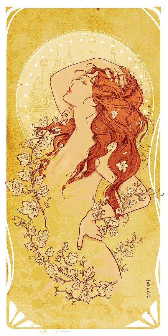 Cadeau Noël Déco comic > Poison Ivy style Mucha art nouveau Geek fanart sensuel super héro de DC Comics – Rousse Nature Cheveux Nu