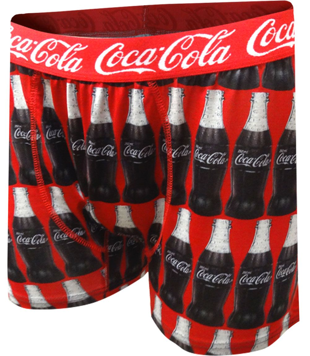 Brand new to the market! These boxer briefs for men feature the world famous Coca-Cola Registered Trademark Logo and vintage glass Coke bottles on a red background. Boxer briefs are made of performance fabric, so they have a nice amount of stretch. Machine washable, pouch pocket styling.