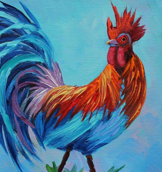 Art Oil Painting Rooster Original Oil Painting OOAK by rbealart