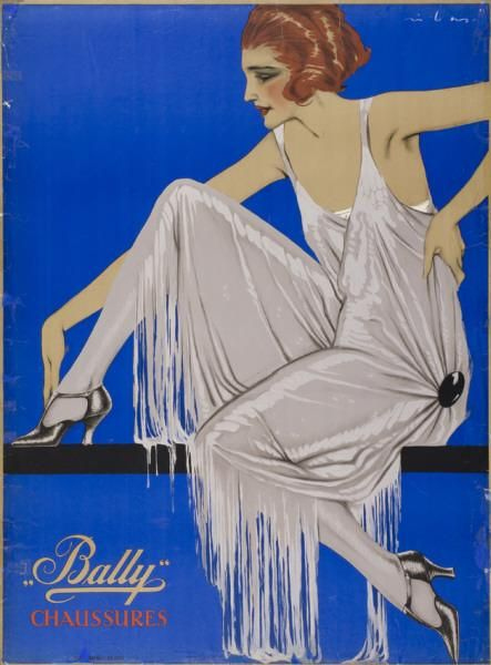 """Bally"" Chaussures (Originaltext) 1927 ""Bally"" Chaussures-Plakat Gestaltung: Federico Ribas"