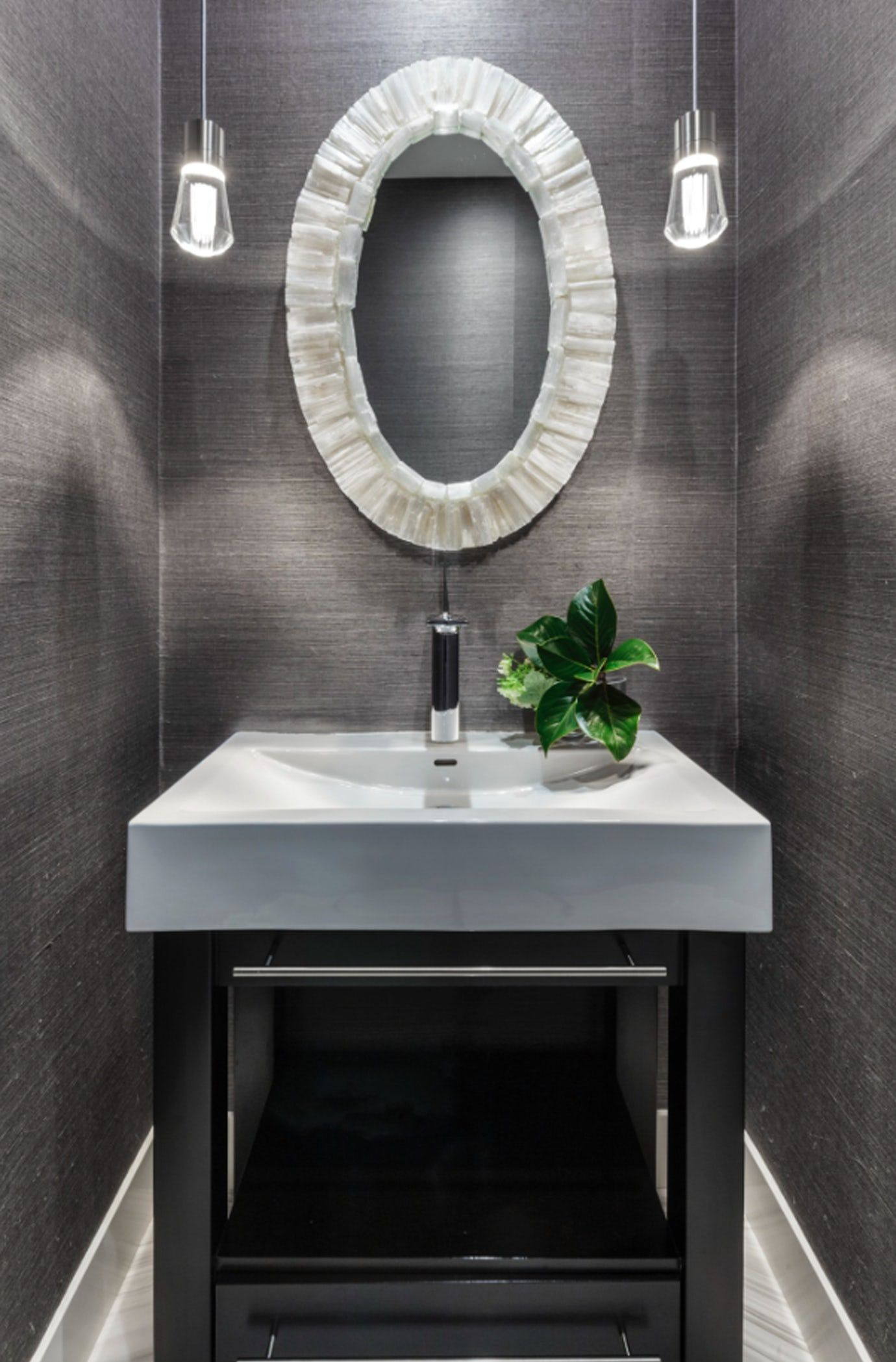 Top 10 Stunning Powder Room Decorating Ideas For 2020: A Sleek And Modern Powder Room Exudes Style Bath