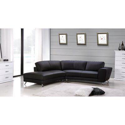 Hokku Designs Julie Sectional Upholstery Black Orientation Left