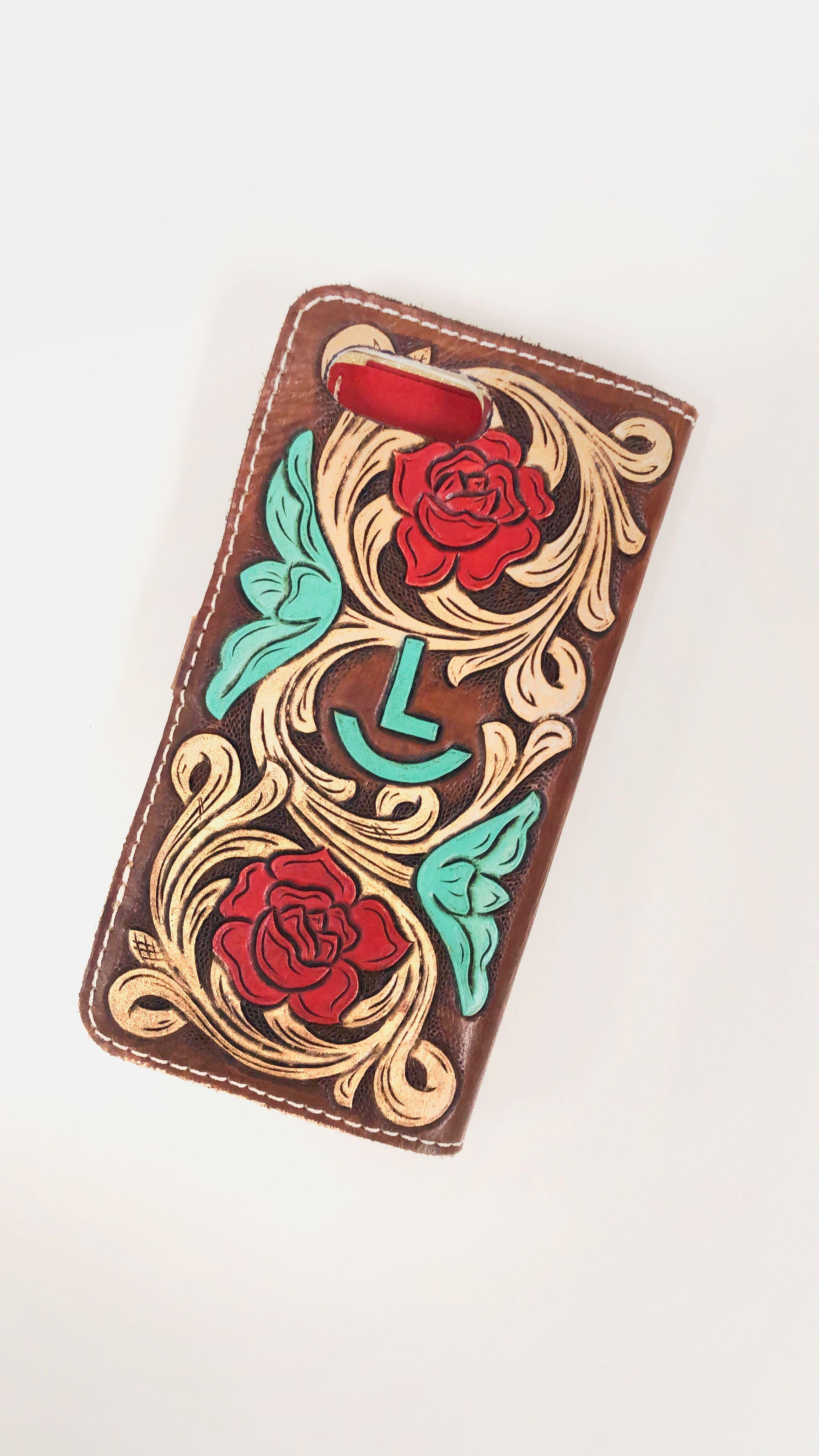 Custom tooled leather rose phone case
