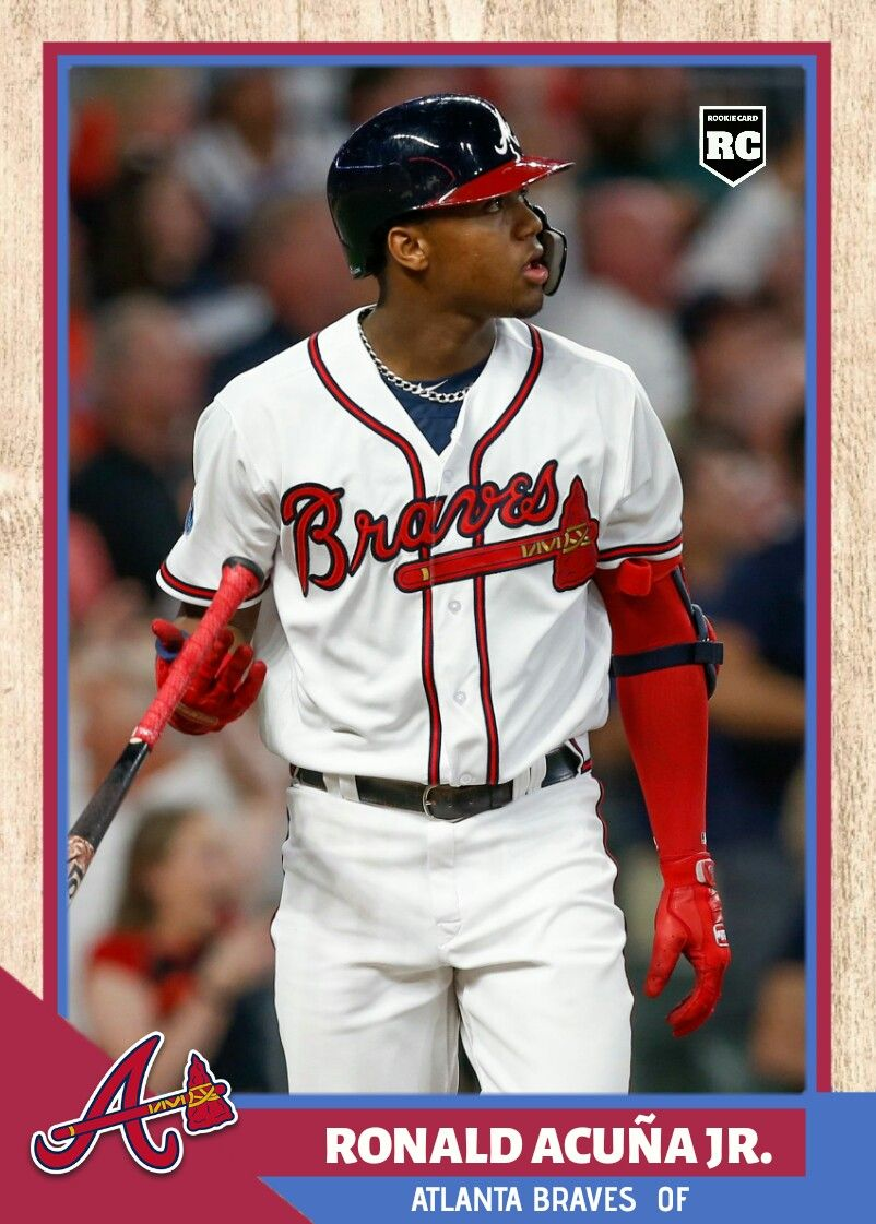 2019 Baseball League Custom Ronald Acuna Jr Rc Atlanta Braves Baseball Cards Baseball League