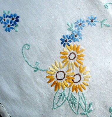 Vintage Hand Embroidered Sunflowers Forget Me Nots Cream Linen Tablecloth